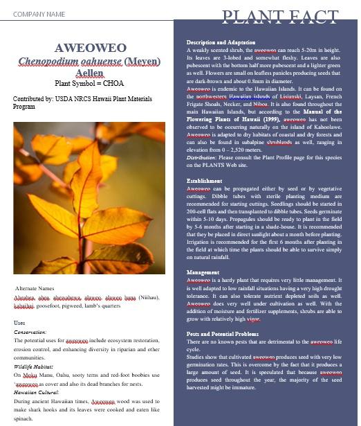 plant survey fact sheet template