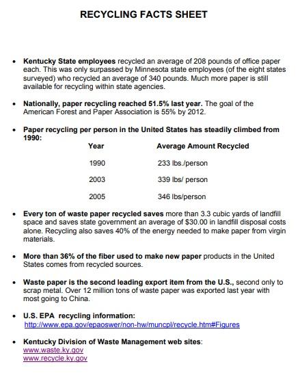recycling fact sheet template