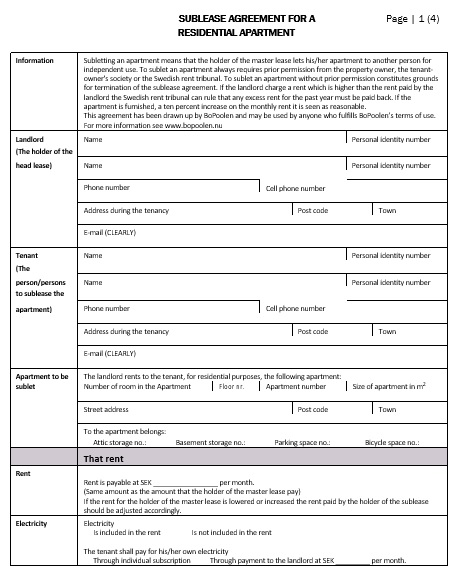 sublease agreement for a residential apartment