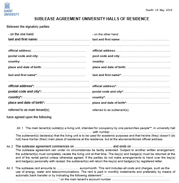 sublease agreement university halls of residence