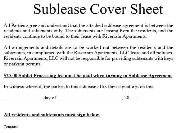 sublease cover sheet