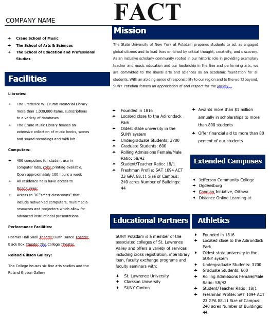 well defined fact sheet template